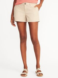 6dad1d1ba Old Navy Women's Relaxed Mid-Rise Everyday Khaki Shorts - 3.5 Inch Inseam  Upper Crust