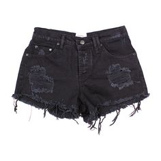 RILEY DENIM CUT OFF SHORTS BLACK (2.500 UYU) ❤ liked on Polyvore featuring shorts, bottoms, pants, short, distressed cut off shorts, denim cut offs, mid rise shorts, ripped shorts and distressed shorts