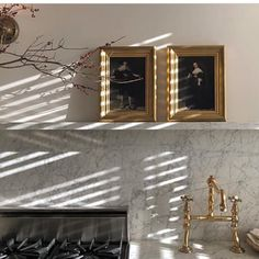 great beauty reposted from - love the small old masters casually displayed. Who would Not like a Rembrandt over the range? Houses In France, Waterworks, Old Master, Beautiful Homes, Marble, Photoshoot, Ceiling Lights, Display, Lighting