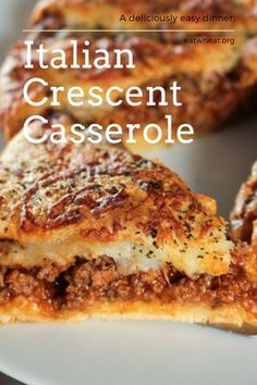 Homemade & Easy Italian Crescent Casserole Homemade & Easy Italian Crescent Casserole Classic Italian flavors in a flaky Crescent crust, ready in 30 minutes. This recipe is not only convenient and easy, but delicious too! Yay for casserole! Best Italian Recipes, Favorite Recipes, Italian Casserole, Crescent Roll Recipes, Pilsbury Crescent Recipes, Crescent Roll Pizza Ring, Dinner Rolls Recipe, Easy Casserole Recipes, Egg Casserole