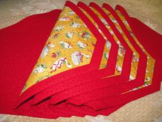 Quilted Placemat Reversible 12 Days of Christmas by QuiltinWaYnE, $62.00