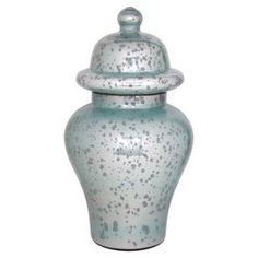 Turquoise mercury glass apothecary jar.  Product: Apothecary jarConstruction Material: GlassColor: Turquoise Dimensions: 20 HCleaning and Care: Wipe with damp cloth