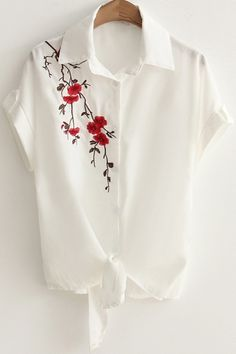 Fancy Floral Embroidered Short Sleeve Tied Waist Button Down White Linen Shirt, Fashion Style Blouses & Shirts Hand Embroidery Dress, Embroidery Suits Design, Embroidery On Clothes, Embroidery Fashion, Hand Embroidery Designs, Fabric Paint Shirt, Fabric Painting On Clothes, Paint Shirts, Painted Clothes