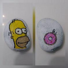 [OC] This rock I painted to look like homer Simpson. Homer Simpson, Rocks, Stone, Batu, Stones