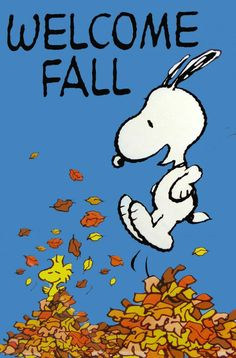 Snoopy & Woodstock Welcome Fall by jumping into a pile of Autumn Leaves Peanuts Cartoon, Peanuts Snoopy, Snoopy Cartoon, Charlie Brown Und Snoopy, Snoopy Und Woodstock, Vintage Flag, Snoopy Quotes, Welcome Fall, Happy Fall Y'all