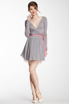 RED Valentino Surplice Lace Trim Wool Dress