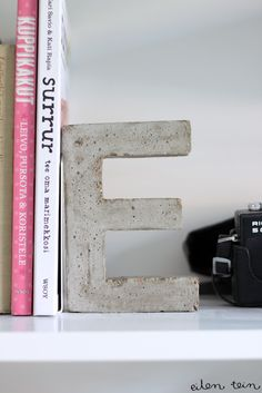 DIY concrete letter book ends