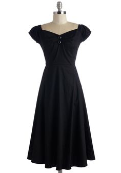 Yes We Candor Dress - Long, Cotton, Woven, Black, Solid, Work, Pinup, 50s, Fit & Flare, Cap Sleeves, Better, Buttons, Vintage Inspired, 40s, Sweetheart