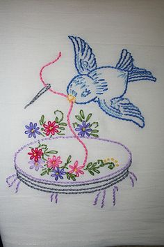 Diy Embroidery Designs, Hand Embroidery Flowers, Hand Work Embroidery, Embroidery Patterns Free, Vintage Embroidery, Cross Stitch Embroidery, Machine Embroidery, Cactus Cross Stitch, Sewing Appliques