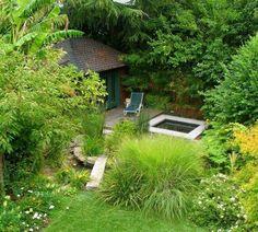espace exterieur japonais piscine
