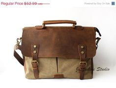 Holiday Sale Genuine Cow Leather bag /canvas by JacquelineStudio, $50.34