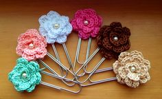 Crochet jumbo flower paperclip bookmark