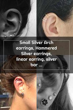Double Cartilage Piercing Double Cartilage Piercing Double Cartilage Piercing, Ear Piercings Tragus, Helix Hoop, Bar Earrings, Christina Aguilera, Silver Bars, Hammered Silver, Sterling Silver Earrings