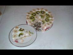 Piškotový dort s ovocem - nepečený (recept) - YouTube