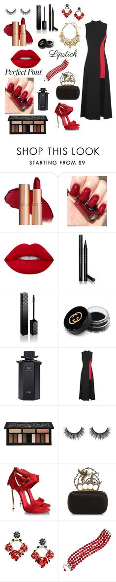 """Red in your Style"" by tainted-scars ❤ liked on Polyvore featuring beauty, Lime Crime, Gucci, Versace, Kat Von D, Casadei, Alexander McQueen, Dolce&Gabbana, Chanel and Oscar de la Renta"