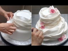Ruffle Cake - How To make a beautiful and easy fondant ruffle cake. Tuto...