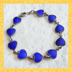 Vintage Cobalt Blue Guilloche Scandinavian Heart Bracelet ~ Denmark Volmer Bahner