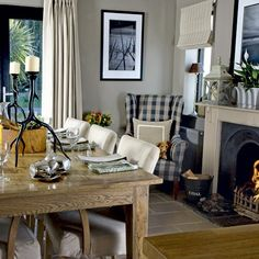 Country dining room decor nice country cottage dining room design ideas ideas about cottage dining rooms . Cosy Dining Room, Cottage Dining Rooms, Dining Room Fireplace, Country Dining Rooms, Dining Room Design, Dining Room Furniture, Dining Rooms With Fireplaces, Living Room, Kitchen Design