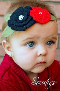 Red & Black Felt flower Headband / baby headband / newborn headband / girl headband. Free Ship promo 20 USD and more.. $6.99, via Etsy.