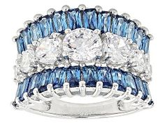 Bella Luce ® blue and white diamond simulant round and baguette, rhodium over sterling silver ring. Measures approximately x and is not sizeable. The diamond equivalent weight is Words Meaning Beautiful, Black And Brown, Blue And White, Diamond Simulant, Blue Topaz Ring, Loose Gemstones, Sterling Silver Rings, Jewelry Collection, Fine Jewelry
