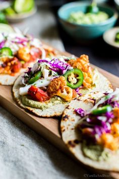 A weeknight staple, Roasted Cauliflower Tinga Tacos with Chili-Lime Slaw are chipotle spicy, and packed with flavor. They're freezer friendly and done in about 30 minutes! Serve with your favorite Mexican inspired sides and don't forget the guacamole! Authentic Mexican Recipes, Mexican Food Recipes, Vegan Recipes, Cooking Recipes, Zone Recipes, Meatless Recipes, Delicious Recipes, Tostadas, Vegetarian Main Meals