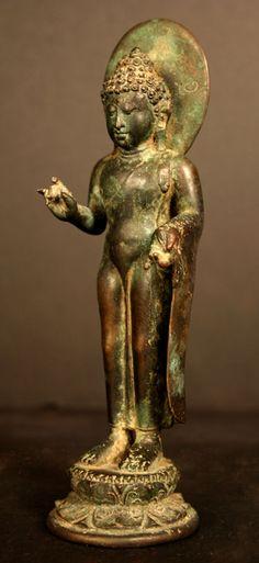 Bronze Standing Buddha from Java, Indonesia circa 10th century ♥♥♥