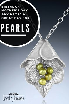 "Pearls can be dyed many colors, are the birthstone for June, and are used to commemorate the 3rd and 30th wedding anniversaries. Believed to promote sincerity, truth and loyalty, they enhance personal integrity, soothe and calm, yet focus attention. Pearls are said to have been sacred to Aphrodite as pieces of ""wisdom"" and said to bring healing to your skin and stomach. #pearls #pearljewelry #anniversarygift #3rdanniversary #30thAnniversary #Junebirthstone #birthstones #jewelofhavana"