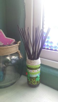 Upcycled jam jar reed diffuser