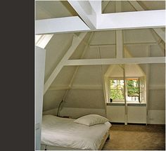 Like the idea of having the beams rather than drywalling it all in Drywall, Attic, Beams, Bedroom, Loft Room, Attic Rooms, Bedrooms, Gypsum, Dorm Room