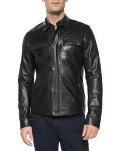 Raw-Edge+Leather+Jacket,+Black+by+Vince+at+Neiman+Marcus.