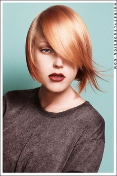 shiny strawberry blonde side-part bob.