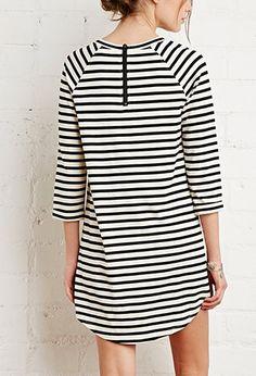 Raglan-Sleeved Stripe Dress - Clothing - 2000142789 - Forever 21 UK