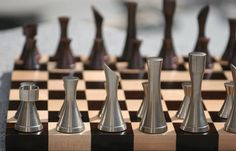 Copper/steel contemporary chess set. Featured on the USA television series, 'White Collar.'