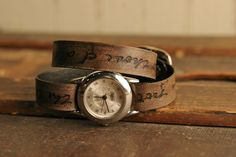 personalized leather wrap watch