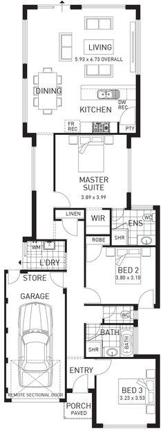 Brookdale, Narrow Single Storey Floor Plan, WA
