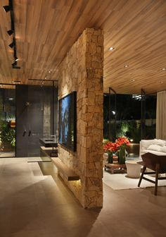 Duda Porto » RES-CC13 Home Room Design, Home Interior Design, Interior Architecture, Living Room Home Theater, Appartement Design, Luxury Homes Dream Houses, Modern House Design, House Plans, New Homes