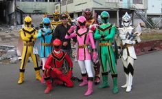 With the stunt team - Power Rangers Mystic Force