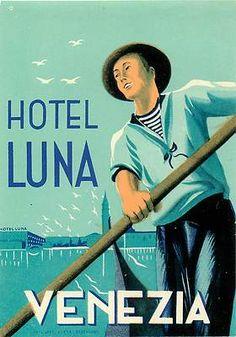Venice Venezia Italy Hotel Luna Old Luggage Label | eBay