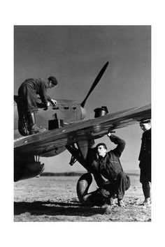 Photographic Print: French Mechanics Overhauling a Fighter Plane : 24x16in