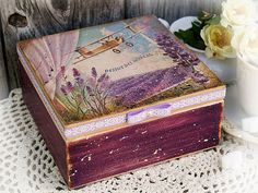 Jewelry   tea  candy box  French lavender by HandmadeDecoupage, $70.00
