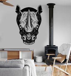 Vinyl Wall Decal Rhino Head Animal Tribal Art Rhinoceros Stickers (ig3958)