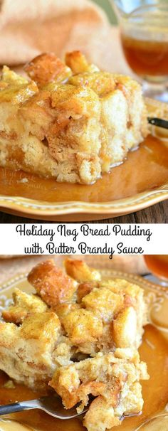 Eggnog Bread Pudding with Butter Brandy Sauce. Unbelievably delicious bread pudd… Eggnog Bread Pudding with Butter Brandy Sauce. Unbelievably delicious bread pudding made with eggnog and topped with a sweet, butter brandy sauce. Eggnog Bread Pudding, Chocolate Bread Pudding, Bread Puddings, Grapenut Pudding, Pudding Desserts, Pudding Cake, Cake Chocolate, Bread Pudding Recipes, Eggnog Bread Recipe