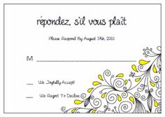 Response Cards (RSVP). Printable Wedding Invitations Paisley Christina Suite: Yellow and Black