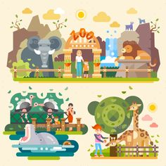 Let's Go To The Zoo! Flat Vector illustrations Vector EPS, PSD