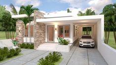 Diseño plano de casa de un piso de 3 dormitorios