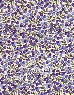Wild Blueberry FABRIC Purple Berry Fruit COTTON by NsewFabrics