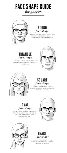 Face Shape Guide for Glasses- always chose eyeglasses that compliment your face shape. If you have a square face, wear softer more rounded eyewear. If round face, square glasses compliment. Also, the top of the brow should fall just above the eyewear Frames For Round Faces, Glasses For Round Faces, Glasses For Your Face Shape, Eyeglasses For Women Round Face, Square Face Glasses, Round Eyeglasses, Glasses Heart Shaped Face, Round Face Men, Luxury Sunglasses