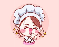 Cute Chef Girl Smiling Fun Thank You Cartoon Ilustração De Arte Cartoon Kunst, Cartoon Drawings, Cartoon Art, Cute Cartoon, Cute Illustration, Character Illustration, Character Sketches, Art Illustrations, Character Design