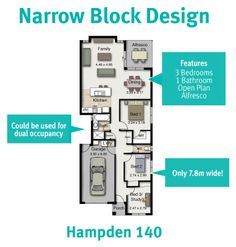 Great for a narrow block can even be converted into dual for Dual occupancy home designs corner block