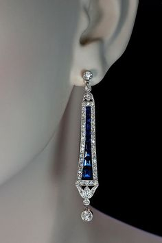 Art Deco sapphire and diamond pendant dangle earrings.